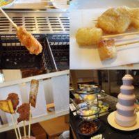 テラスモール松戸の串家物語の串揚げバイキングは、油っこさなし。サラダ、カレー、お茶漬け、麺類、パスタやデザートも充実でお腹いっぱいに!